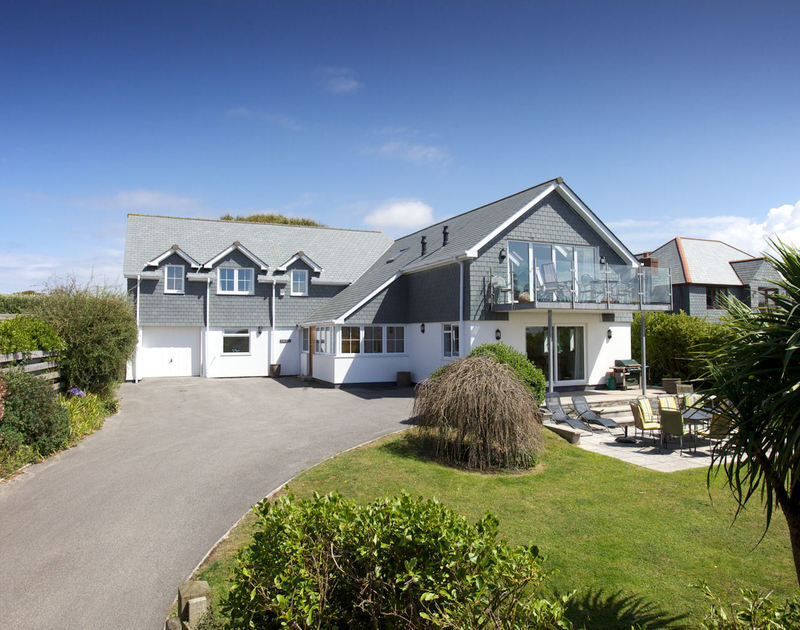 The external view from the attractive front garden at Farlands, a self catering holiday house to rent in Daymer Bay on the North Cornish Coast.